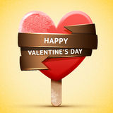 Happy Valentine's Day red ice cream Royalty Free Stock Photography