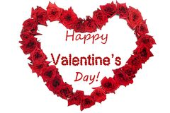Happy Valentine`s day red lettering background and rose shaped h Stock Photos