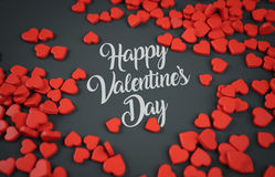 Happy Valentine`s Day Red Love Candy 3D Rendering Dark Backgroun Stock Photography