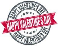 Happy Valentine`s day red round grunge ribbon stamp. Happy Valentine`s day red round grunge vintage ribbon stamp Royalty Free Stock Photo