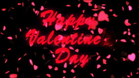 Happy Valentine`s Day Red Text. Valentine`s day abstract background,flying hearts and particles. Black background stock video footage