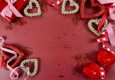 Happy Valentine's Day red vintage wood background Stock Photos