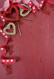 Happy Valentine's Day red vintage wood background Royalty Free Stock Images