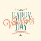 Happy Valentine's Day retro card. Happy Valentine's Day Hand Lettering - Typographical Background Royalty Free Stock Photos