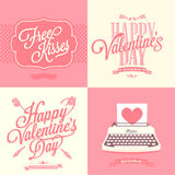 Happy Valentine's Day retro card. Happy Valentine's Day Hand Lettering - Typographical Background Royalty Free Stock Image