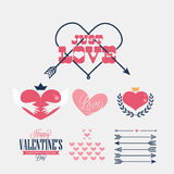 Happy Valentine's Day retro card. Happy Valentine's Day Hand Lettering - Typographical Background Stock Image