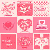 Happy Valentine's Day retro card. Happy Valentine's Day Hand Lettering - Typographical Background Royalty Free Stock Photo