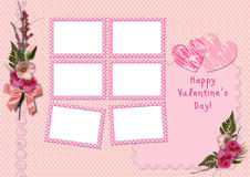 Happy Valentine's Day - Retro Photo Album. The frames with a bouquet of flowers hollyhocks and hearts Stock Images