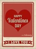 Happy Valentine's Day retro poster. Happy Valentine's Day vintage grunge poster, vector illustrator Stock Photos