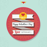 Happy Valentine`s Day ribbon banner with circle sticker on blue texture background. Happy Valentine`s Day ribbon banner with yellow sunburst and coral circle Stock Photography