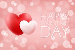 Happy Valentine`s Day romantic background with red and pink realistic hearts. 14 february holiday greetings. Stock Photo