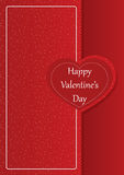 Happy Valentine`s day romantic card. With heart shape on a red background Stock Images