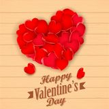 Happy Valentine's Day with rose petal heart Stock Photo
