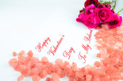 Happy Valentine's Day. Roses and perfumed cristal for my Valentine Stock Photos