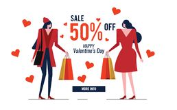 Couple red dress woman with shopping bag. Happy Valentine`s Day Sale. advertise banner. vector illustration Royalty Free Stock Images