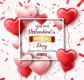 Happy Valentine`s Day sale banner with pink red hearts and confetti. Limited offer 50% off sale Royalty Free Stock Photography