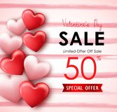 Happy Valentine`s Day sale banner with pink red hearts. Limited offer 50% off sale Stock Photo