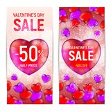 Happy valentine`s day sale banners isolated on white background Stock Photography