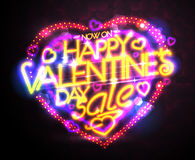 Happy Valentine`s day sale neon poster, holiday savings Stock Photos