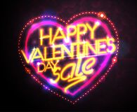 Happy Valentine`s day sale neon style banner. Concept Royalty Free Stock Photography