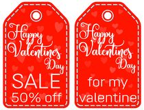 Happy valentine s day sale 50 off for my valentine tag set. Happy valentine s day sale 50 off for my valentine tag set isolated on white background. Vector Royalty Free Stock Photo