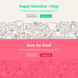 Happy Valentine's Day Save the Date Line Art Web Banners Set. Happy Valentine's Day Line Art Web Banners Set. Vector Illustration for Website banner and landing Royalty Free Stock Photography