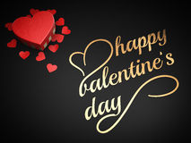 Happy valentine`s day. Scene with heart present box and a happy valentine`s day line Royalty Free Stock Photo