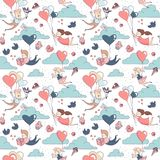 Happy Valentine`s Day seamless pattern boy girl flying heart balloons. Cute funny boy and girl characters flying by heart shape balloons seamless pattern for Stock Photos