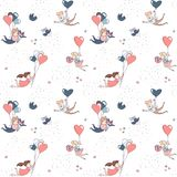 Happy Valentine`s Day seamless pattern boy girl flying heart balloons. Cute funny boy and girl characters flying by heart shape balloons seamless pattern for Stock Image