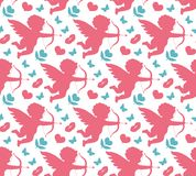 Happy Valentine`s Day seamless pattern. Cute romantic love endless background. Cupid, heart repeating texture. Vector Stock Photos