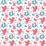 Happy Valentine`s Day seamless pattern. Cute romantic love endless background. Cupid, heart repeating texture. Vector Royalty Free Stock Photos