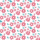 Happy Valentine`s Day seamless pattern. Cute romantic love endless background. Heart, flowers repeating texture. Vector Royalty Free Stock Photo