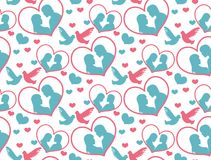 Happy Valentine`s Day seamless pattern. Cute romantic love endless background. Heart repeating texture. Vector Royalty Free Stock Image