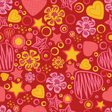 Happy Valentines Day. Seamless pattern with flowers, hearts and stars. Happy Valentines Day. Original elements for your design. Heart symbol for invitations royalty free illustration