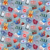 Happy Valentine`s Day! Seamless pattern with funny love and social media elements for Valentine`s day. stock illustration