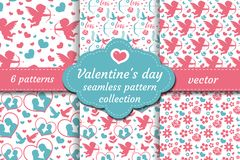 Happy Valentine`s Day seamless pattern set. Collection Cute romantic love endless background. Cupid, heart, flowers vector illustration