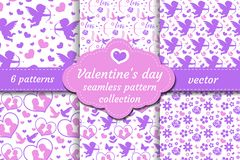 Happy Valentine s Day seamless pattern set. Collection Cute romantic love endless background. Cupid, heart, flowers stock illustration