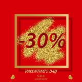 Happy Valentine`s Day. Seasonal discounts. For the holiday.Sale banner on a red background.Minus 30 percent Royalty Free Stock Photography