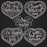 Happy Valentine's day. Set of 4 beautiful hearts with calligraph. Y letters on black background. Vector illustration Stock Photo