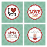 Happy valentine's day. Set of colored backgrounds with elements for valentine's day. Vector illustration Royalty Free Stock Photography