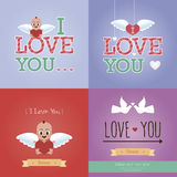 Happy valentine's day. Set of colored backgrounds with elements for valentine's day. Vector illustration Royalty Free Stock Photos