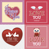 Happy valentine's day. Set of colored backgrounds with elements for valentine's day. Vector illustration Royalty Free Stock Image