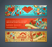Happy Valentine's Day!. Set of colourful cartoon romantic banners. Cupid, hearts, music notes, gift, balloons, ribbon, ring, roses, lock and key, hand-written Stock Photo