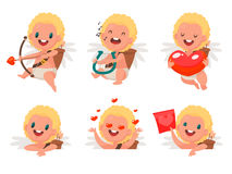 Happy Valentine`s Day. Set  of Cupid in different poses. Element. For greeting cards and graphic design. Vector illustration in a flat style Royalty Free Stock Images