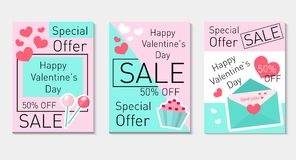 Happy Valentine`s Day set flyer, voucher in modern trendy style. Special offer, discounts. Valentine`s Day collection royalty free illustration