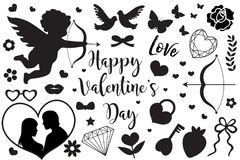 Happy Valentine`s Day set of icons stencil black silhouette. Cute romance love collection of design elements with cupid royalty free illustration