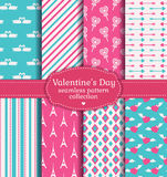 Happy Valentine's Day! Set of love and romantic seamless pattern Stock Images