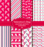 Happy Valentine's Day! Set of love and romantic seamless pattern Stock Image