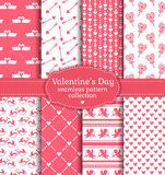 Happy Valentine's Day! Set of love and romantic seamless pattern Stock Photography