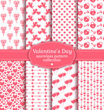 Happy Valentine's Day! Set of love and romantic seamless pattern Stock Photos